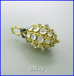 Temple St. Clair 18k Yellow Gold Sapphire Blue Moonstone Bee Hive Pendant $17000
