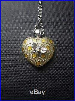 Theo Fennell sterling silver pendant. Bee on Honeycomb /hive