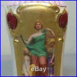 Unusual Royal Vienna Beehive Mark Art Nouveau Hand Painted Portrait Vase