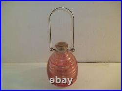 VINTAGE Light Pink Bee Fly Wasp trap catcher hive shaped Glass withwire hanger