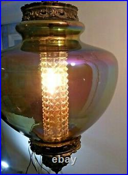 Vintage 13 Mid Century Swag Hanging IRIDESCENT Spinning Top Beehive Lamp