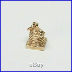 Vintage 14k SKEP BEEHIVE Gold Charm Vintage Gold Charm