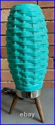 Vintage 60s Plastic Turquoise Beehive Tripod Lamp Mid Century Modern Lighting