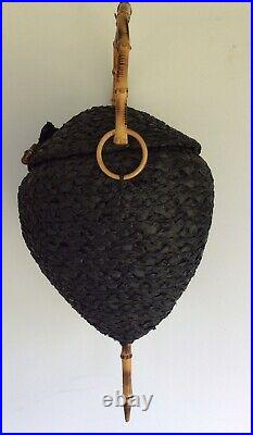 Vintage Bamboo Handle Black Straw Woven Raffia Bee Hive Cane Bag Purse Italy