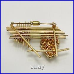 Vintage Enamel 14k Gold Bee Hive Brooch Pin (9489)