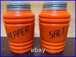 Vintage Hazel Atlas Fired On ORANGE Shaker Salt & Pepper Set Glass Range Beehive