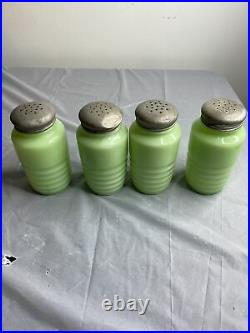 Vintage Jeanette Beehive Jadeite Salt Pepper Sugar Flour Stovetop Shaker Lids
