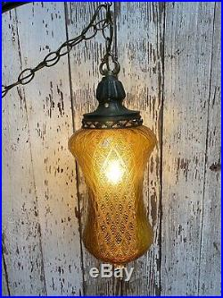 Vintage MCM Bee Hive Spanish Gothic Amber Glass Globe Diffuser Lamp Hanging Swag