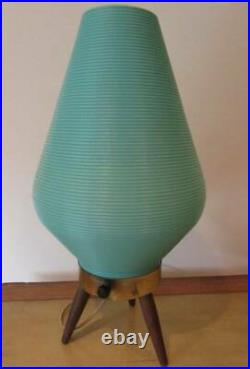 Vintage Mid Century Modern Green Atomic Beehive Tripod Table Lamp 1960s