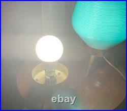 Vintage PAIR Atomic Mid Century Modern MCM Beehive Lamp Orange Teak Tripod Legs