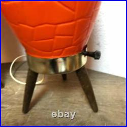 Vintage Pair MCM Lamps Orange Plastic Mid Century Modern Beehive WORKS
