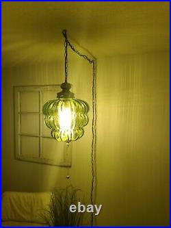 Vintage Swag Lamp Green Mid Beehive Glass MCM Hanging Pendant Light Plug In