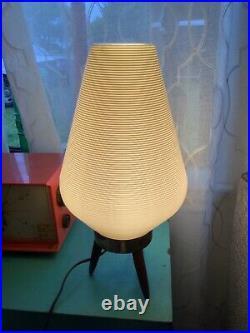 Vintage Tri-pod Mid Century modern retro Table Lamp Bee Hive White Plastic Shade