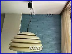 Vintage UFO Beehive Mid Century Pendant Space Age Lamp Atomic Design Light Metal