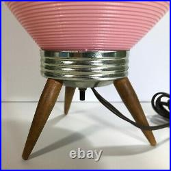 Vtg MCM 60's Beehive Lamp RARE PINK PLASTIC Shade Danish Tripod Legs ROTAFLEX