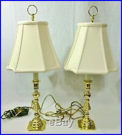 Vtg Pair BALDWIN Beehive Brass Candlestick Lamp Original Finial & Signed Shade