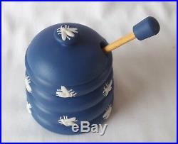 Wedgwood Honey Pot Blue Jasperware bee hive pot