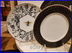Williams Sonoma Set of 12 Beehive golden Honeycomb plates dinner salad appetizer